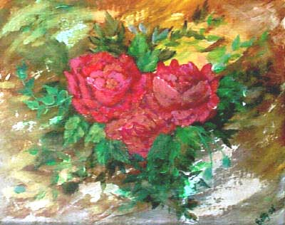 Antique Roses-Acrylic Painting