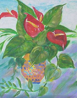 Flowers in Evita Restaurant, Jamaica-Acrylic Painting