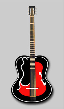 Red and Black Guitar - Graphic Design with Adobe Illustrator