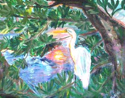 Sunset and Heron-Acrylic Painting